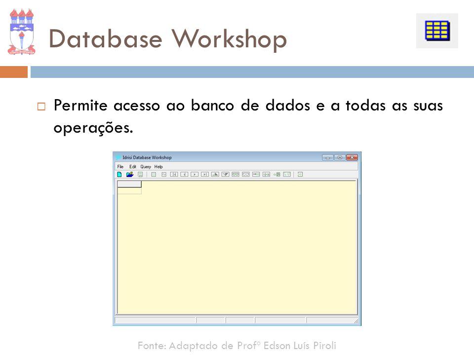 Database Workshop Permite acesso ao banco de dados e a todas as suas operações.