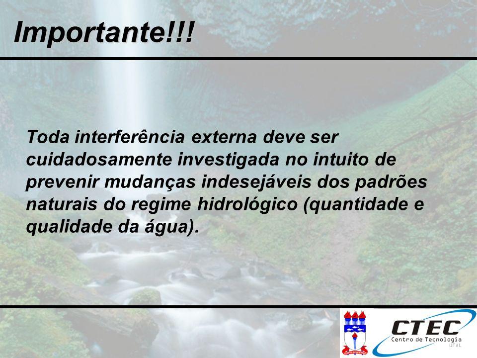 Importante!!! Toda interferência externa deve ser cuidadosamente investigada no intuito de prevenir mudanças indesejáveis dos padrões naturais do regi