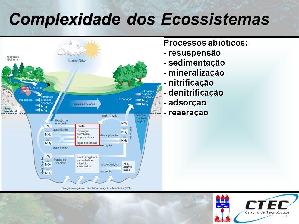 Processos abióticos: - resuspensão - sedimentação - mineralização - nitrificação - denitrificação - adsorção - reaeração Complexidade dos Ecossistemas
