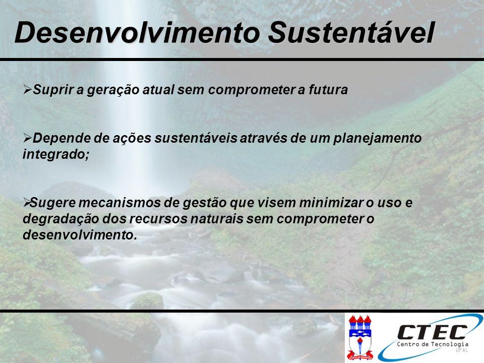 Desenvolvimento Sustentável Suprir a geração atual sem comprometer a futura Depende de ações sustentáveis através de um planejamento integrado; Sugere