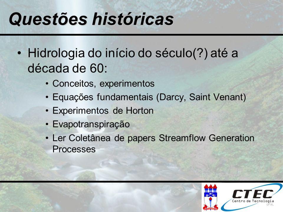 Hidrologia do início do século(?) até a década de 60: Conceitos, experimentos Equações fundamentais (Darcy, Saint Venant) Experimentos de Horton Evapo