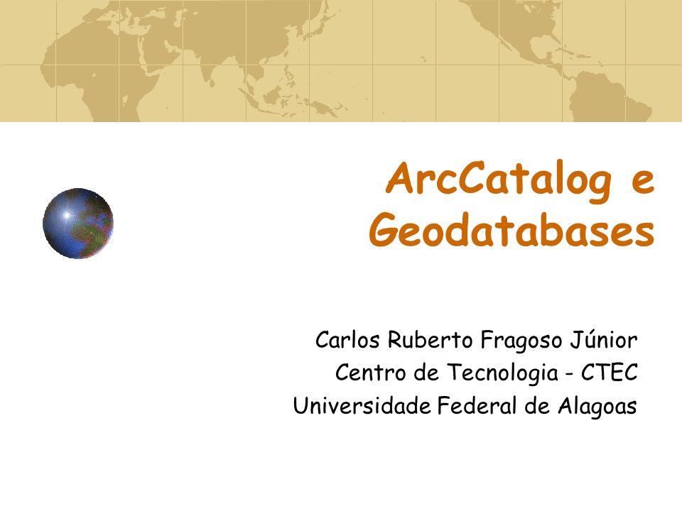 ArcCatalog e Geodatabases Carlos Ruberto Fragoso Júnior Centro de Tecnologia - CTEC Universidade Federal de Alagoas