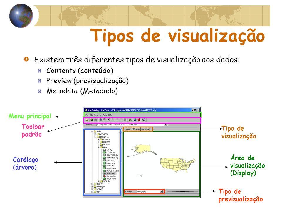 Menu principal Catálogo (árvore) Tipo de visualização Área de visualização (Display) Tipo de previsualização Toolbar padrão Tipos de visualização Exis
