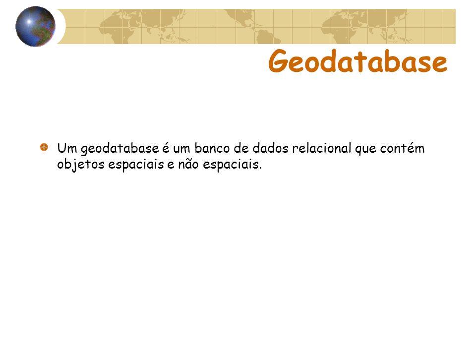 Geodatabase Um geodatabase é um banco de dados relacional que contém objetos espaciais e não espaciais.
