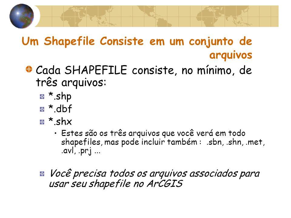 Um Shapefile Consiste em um conjunto de arquivos Cada SHAPEFILE consiste, no mínimo, de três arquivos: *.shp *.dbf *.shx Estes são os três arquivos qu