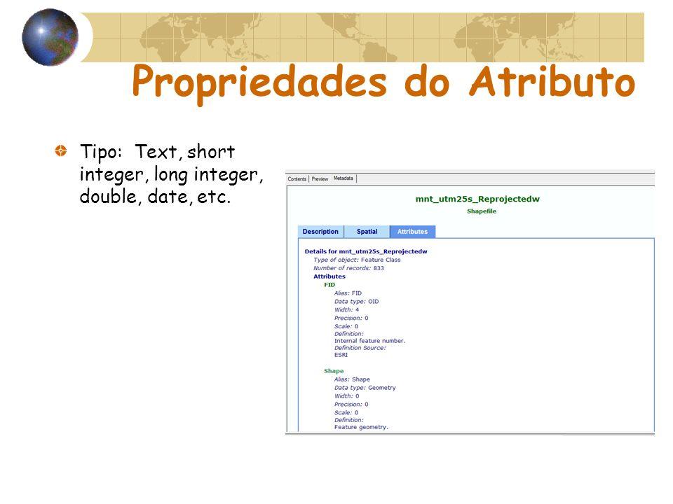 Propriedades do Atributo Tipo: Text, short integer, long integer, double, date, etc.