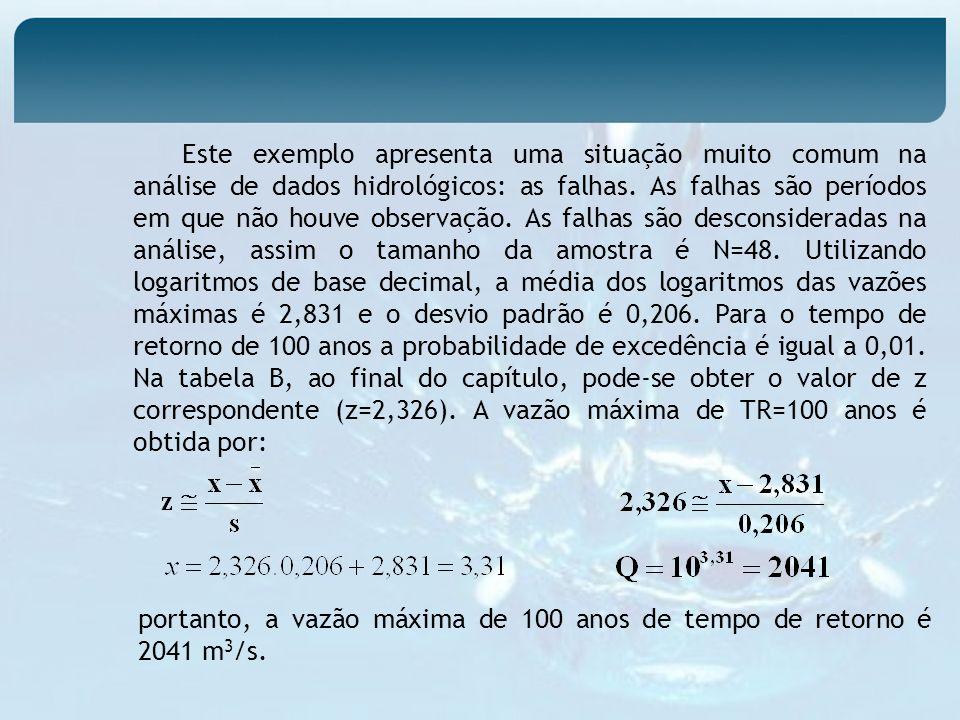 Este exemplo apresenta uma situação muito comum na análise de dados hidrológicos: as falhas. As falhas são períodos em que não houve observação. As fa