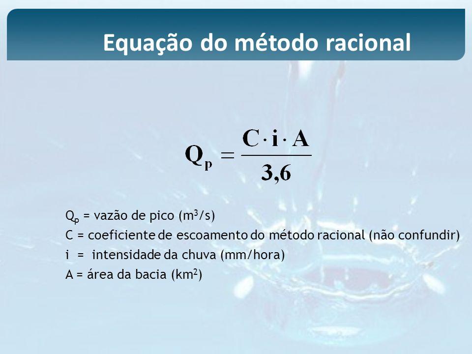 Q p = vazão de pico (m 3 /s) C = coeficiente de escoamento do método racional (não confundir) i = intensidade da chuva (mm/hora) A = área da bacia (km