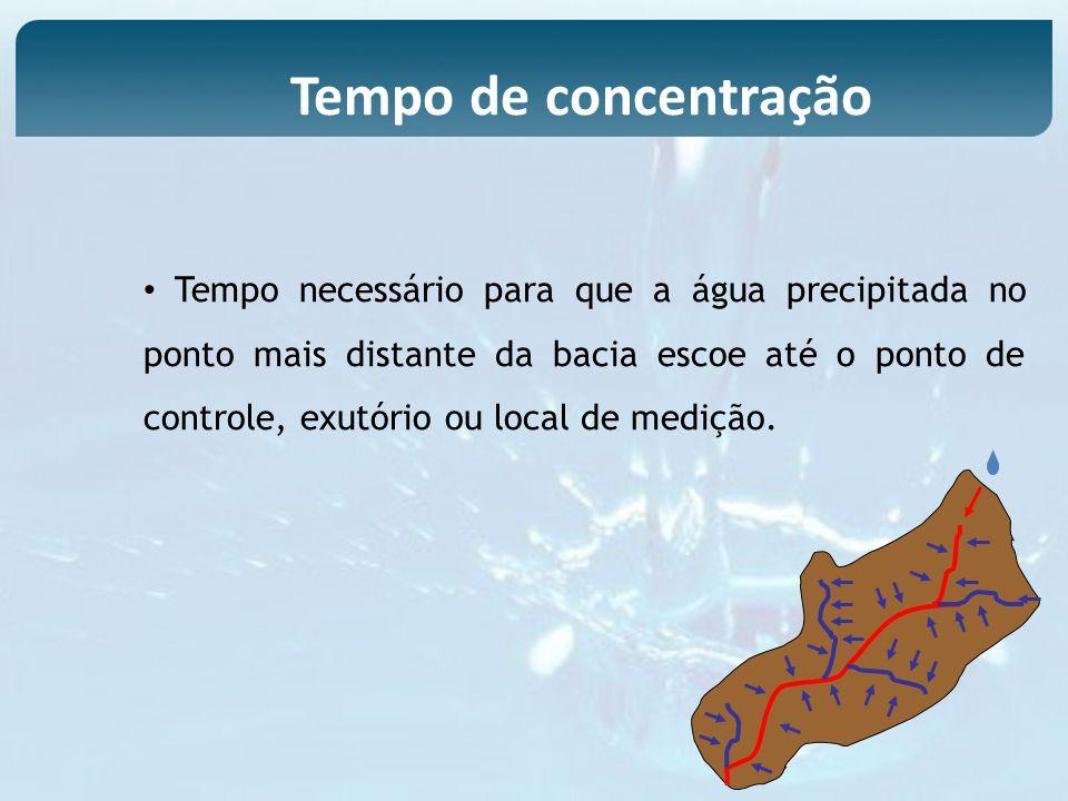 Tempo necessário para que a água precipitada no ponto mais distante da bacia escoe até o ponto de controle, exutório ou local de medição. Tempo de con