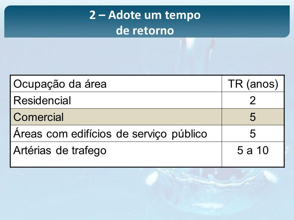Ocupação da áreaTR (anos) Residencial2 Comercial5 Áreas com edifícios de serviço público5 Artérias de trafego5 a 10 2 – Adote um tempo de retorno