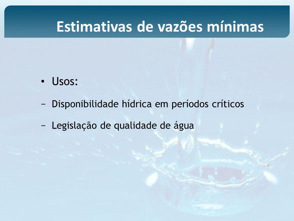 Estimativas de vazões mínimas Usos: Disponibilidade hídrica em períodos críticos Legislação de qualidade de água