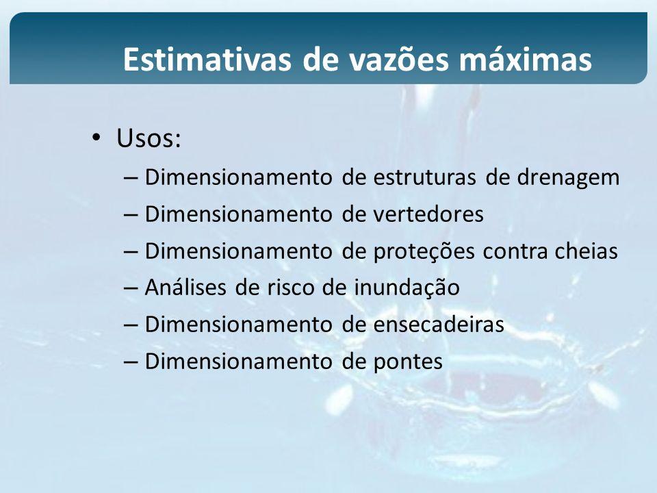 Usos: – Dimensionamento de estruturas de drenagem – Dimensionamento de vertedores – Dimensionamento de proteções contra cheias – Análises de risco de