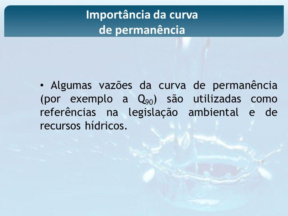 Algumas vazões da curva de permanência (por exemplo a Q 90 ) são utilizadas como referências na legislação ambiental e de recursos hídricos. Importânc