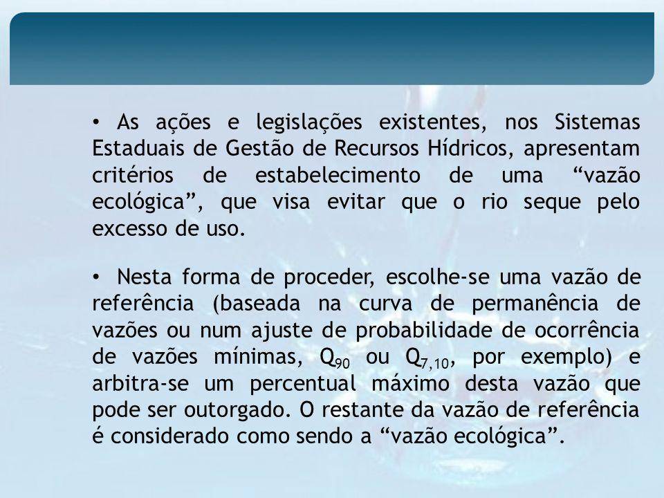 As ações e legislações existentes, nos Sistemas Estaduais de Gestão de Recursos Hídricos, apresentam critérios de estabelecimento de uma vazão ecológi