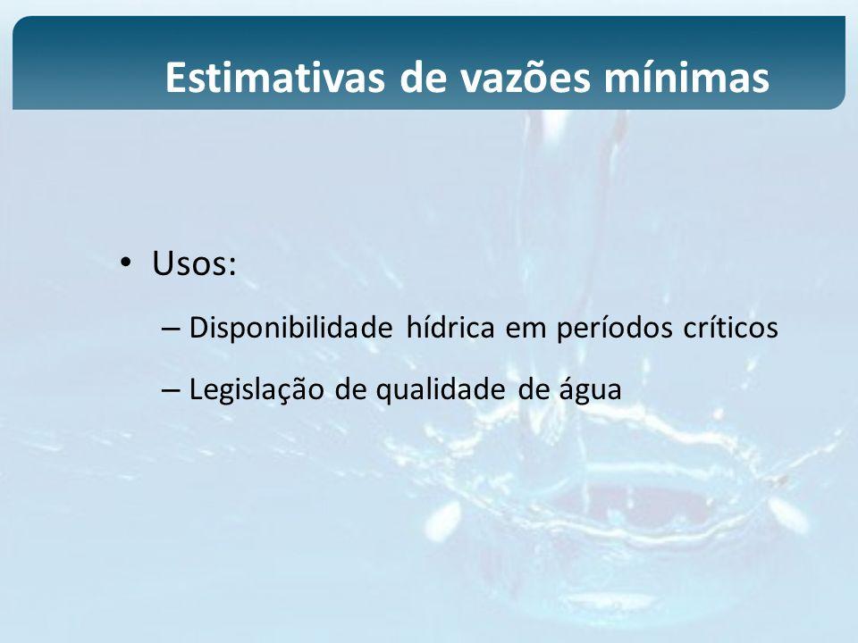 Usos: – Disponibilidade hídrica em períodos críticos – Legislação de qualidade de água Estimativas de vazões mínimas