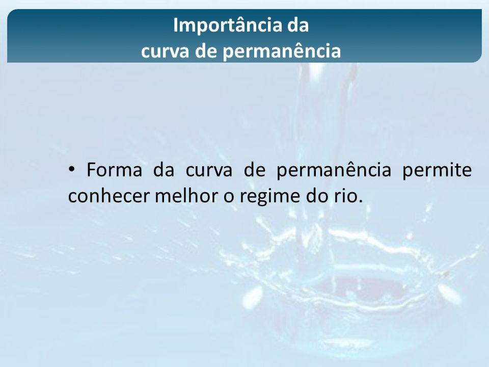 Forma da curva de permanência permite conhecer melhor o regime do rio. Importância da curva de permanência