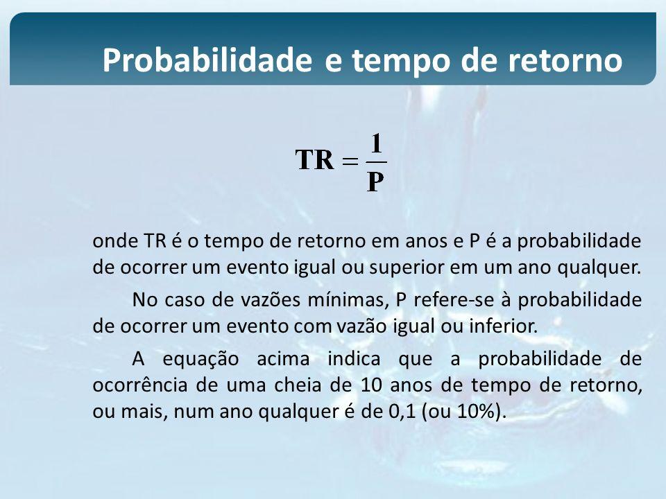 onde TR é o tempo de retorno em anos e P é a probabilidade de ocorrer um evento igual ou superior em um ano qualquer. No caso de vazões mínimas, P ref