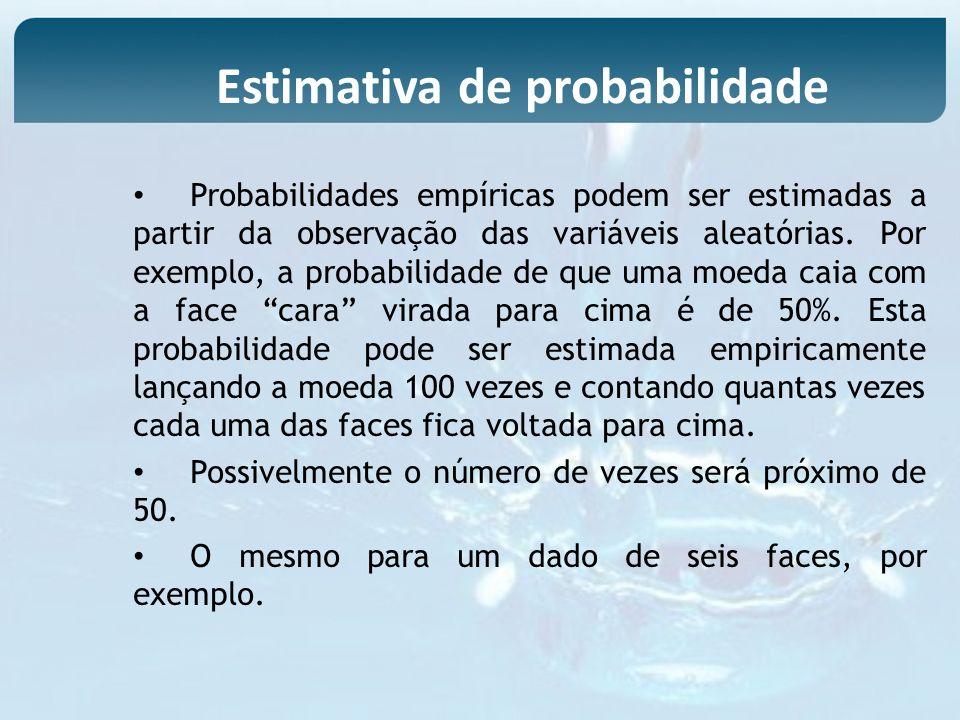 Probabilidades empíricas podem ser estimadas a partir da observação das variáveis aleatórias. Por exemplo, a probabilidade de que uma moeda caia com a