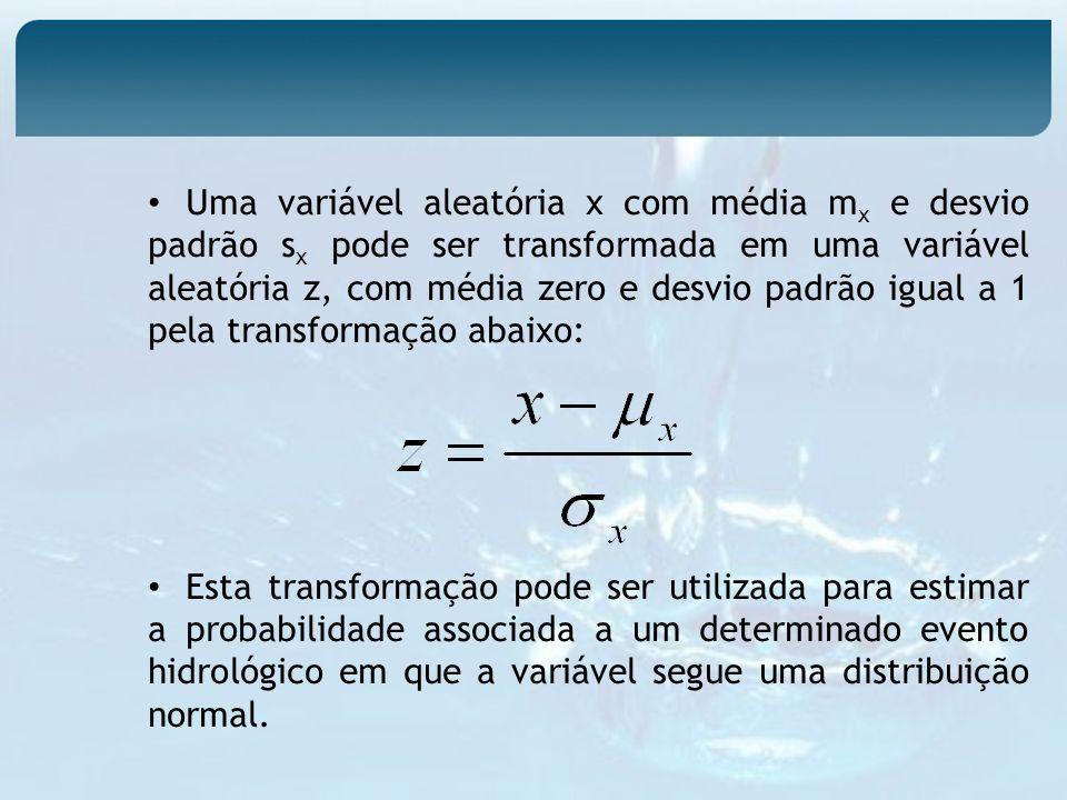 Uma variável aleatória x com média m x e desvio padrão s x pode ser transformada em uma variável aleatória z, com média zero e desvio padrão igual a 1