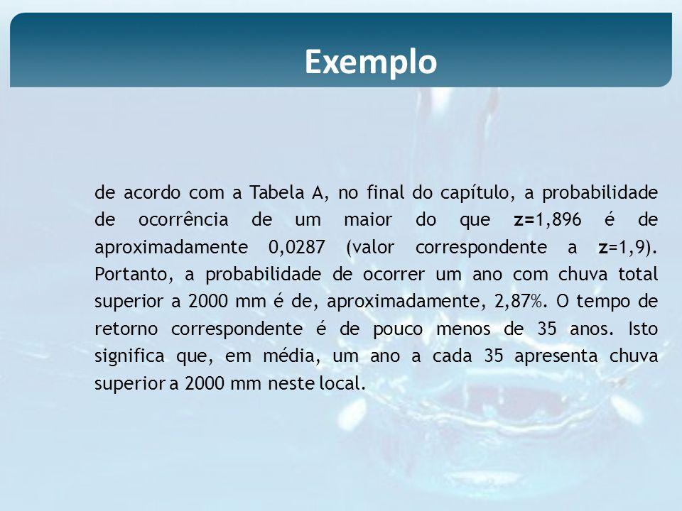 de acordo com a Tabela A, no final do capítulo, a probabilidade de ocorrência de um maior do que z=1,896 é de aproximadamente 0,0287 (valor correspond