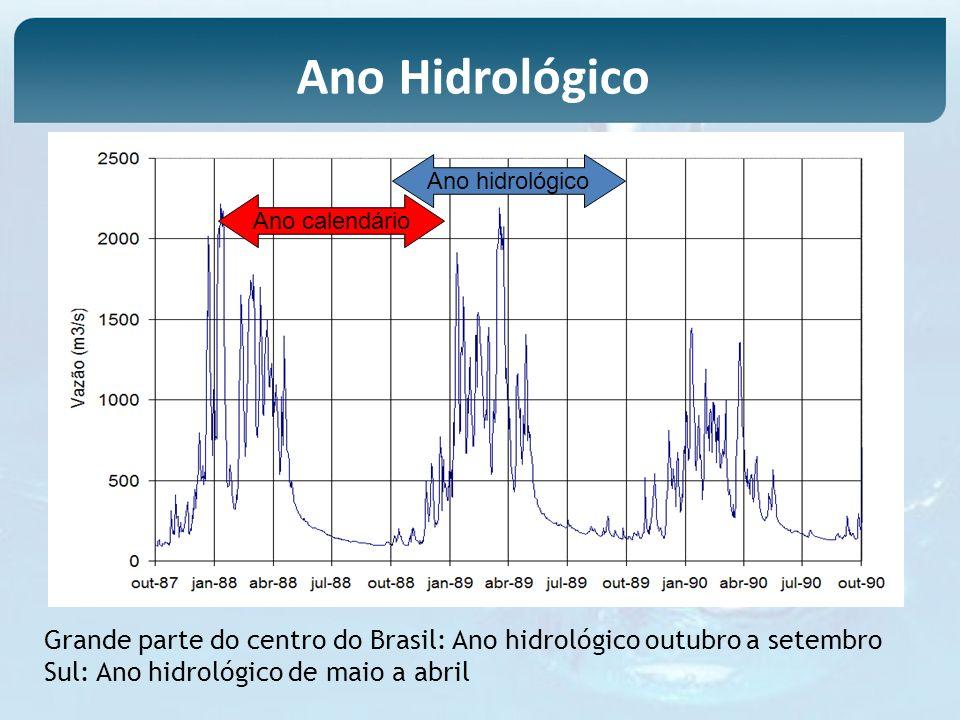 Ano hidrológico Ano calendário Grande parte do centro do Brasil: Ano hidrológico outubro a setembro Sul: Ano hidrológico de maio a abril Ano Hidrológi