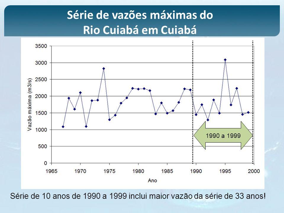 1990 a 1999 Série de 10 anos de 1990 a 1999 inclui maior vazão da série de 33 anos! Série de vazões máximas do Rio Cuiabá em Cuiabá