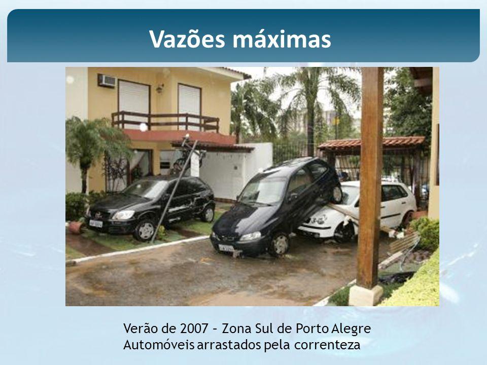 Verão de 2007 – Zona Sul de Porto Alegre Automóveis arrastados pela correnteza