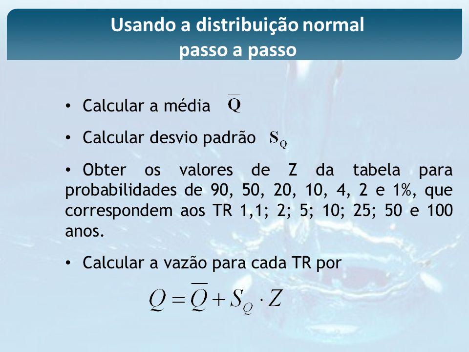Calcular a média Calcular desvio padrão Obter os valores de Z da tabela para probabilidades de 90, 50, 20, 10, 4, 2 e 1%, que correspondem aos TR 1,1;