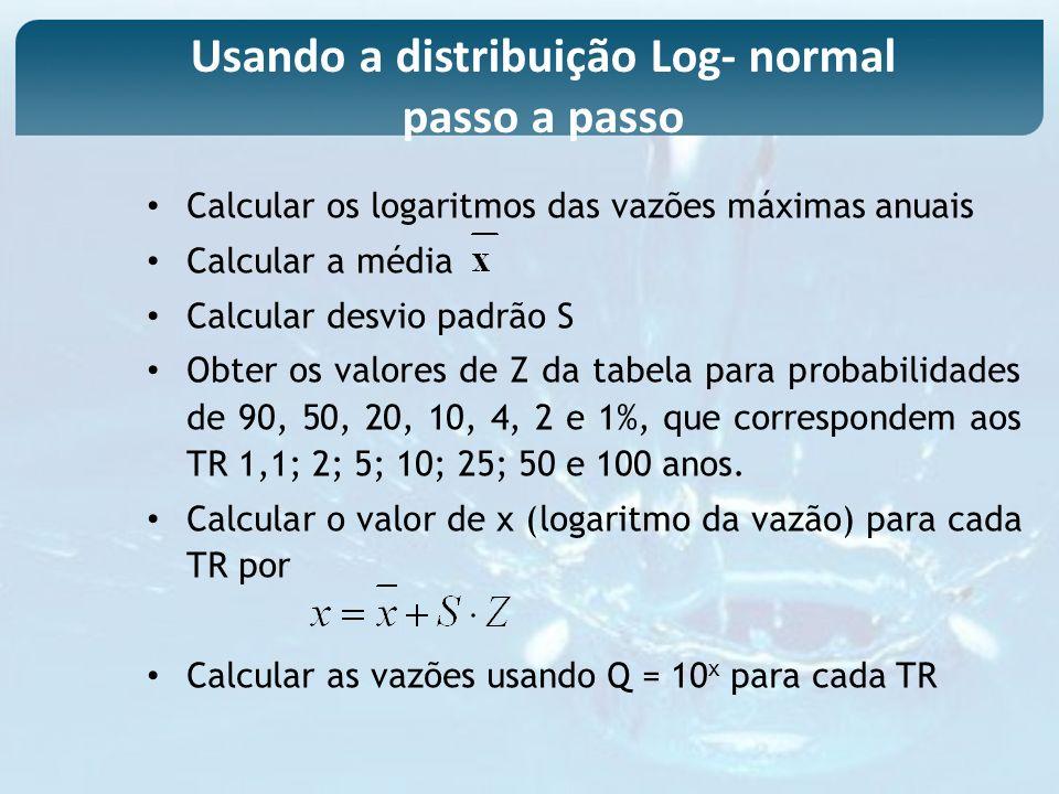 Calcular os logaritmos das vazões máximas anuais Calcular a média Calcular desvio padrão S Obter os valores de Z da tabela para probabilidades de 90,