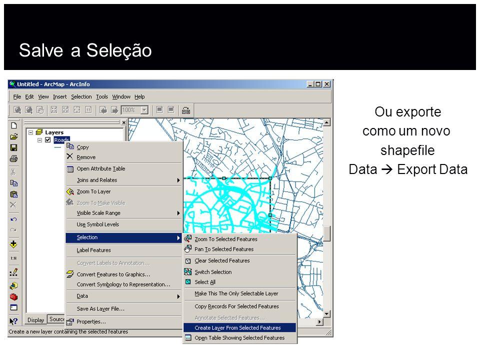 Salve a Seleção Ou exporte como um novo shapefile Data Export Data