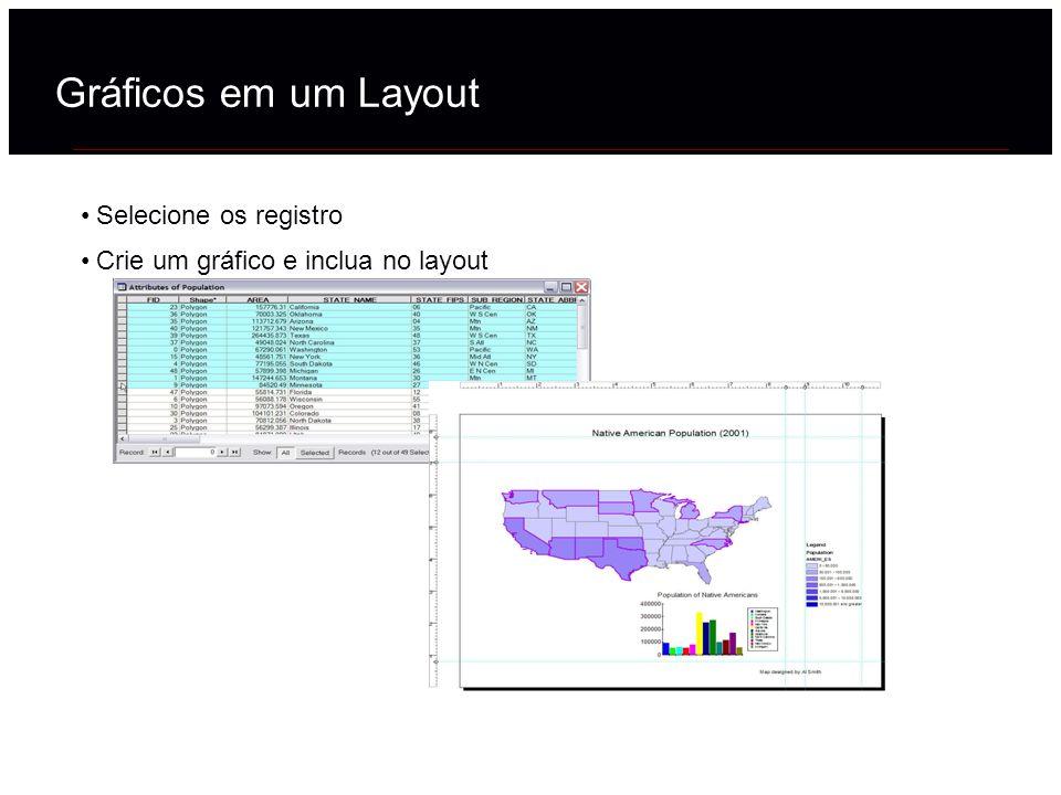 Gráficos em um Layout Selecione os registro Crie um gráfico e inclua no layout
