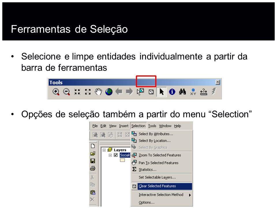 Ferramentas de Seleção Selecione e limpe entidades individualmente a partir da barra de ferramentas Opções de seleção também a partir do menu Selectio