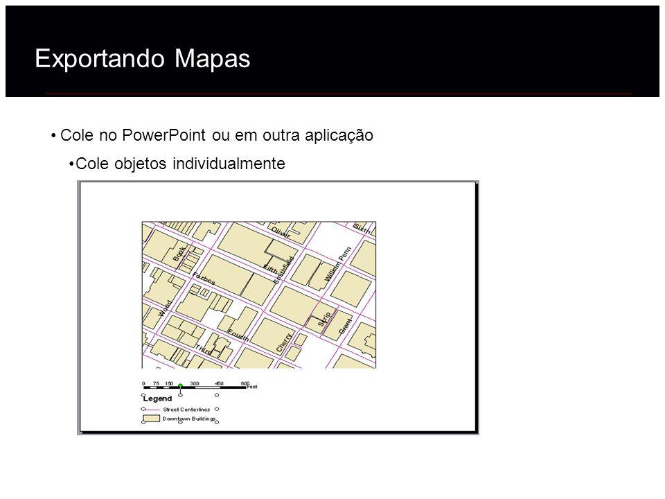 Cole no PowerPoint ou em outra aplicação Cole objetos individualmente Exportando Mapas