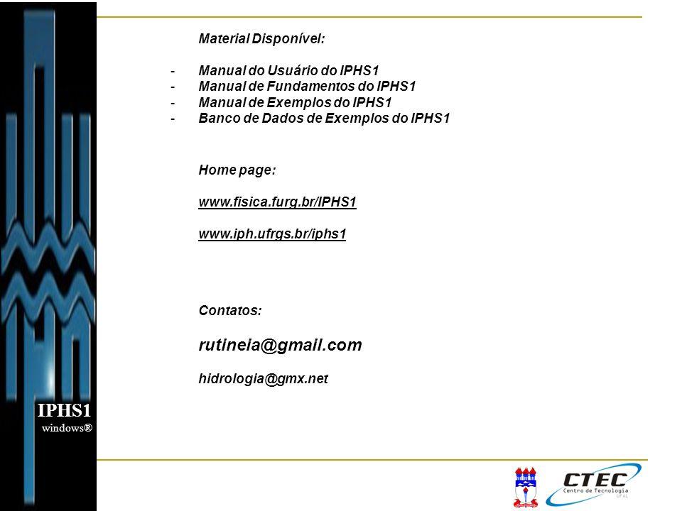 Material Disponível: -Manual do Usuário do IPHS1 -Manual de Fundamentos do IPHS1 -Manual de Exemplos do IPHS1 -Banco de Dados de Exemplos do IPHS1 Hom