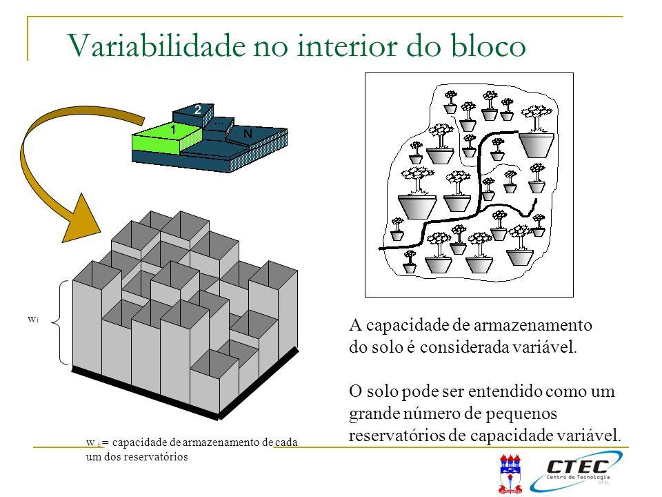 Variabilidade no interior do bloco A capacidade de armazenamento do solo é considerada variável. O solo pode ser entendido como um grande número de pe