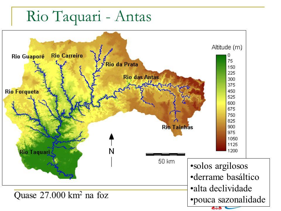 Rio Taquari - Antas Quase 27.000 km 2 na foz solos argilosos derrame basáltico alta declividade pouca sazonalidade