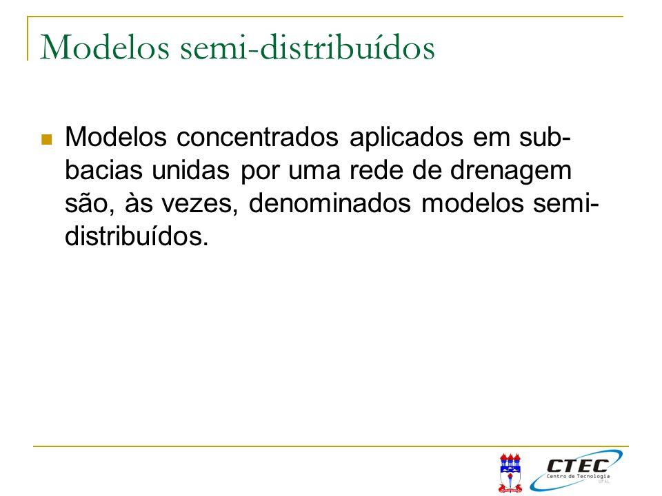 Modelos semi-distribuídos Modelos concentrados aplicados em sub- bacias unidas por uma rede de drenagem são, às vezes, denominados modelos semi- distr