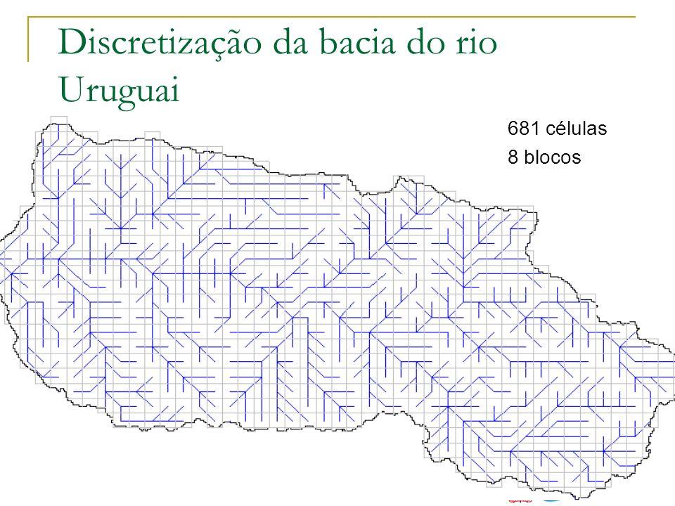Discretização da bacia do rio Uruguai 681 células 8 blocos