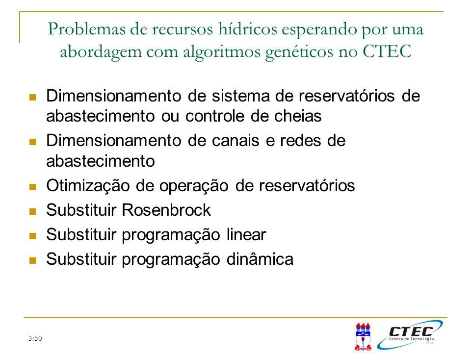 3:50 Problemas de recursos hídricos esperando por uma abordagem com algoritmos genéticos no CTEC Dimensionamento de sistema de reservatórios de abaste