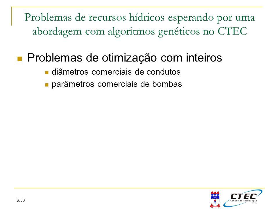 3:50 Problemas de otimização com inteiros diâmetros comerciais de condutos parâmetros comerciais de bombas Problemas de recursos hídricos esperando po