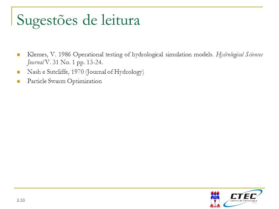 3:50 Sugestões de leitura Klemes, V. 1986 Operational testing of hydrological simulation models. Hydrological Sciences Journal V. 31 No. 1 pp. 13-24.