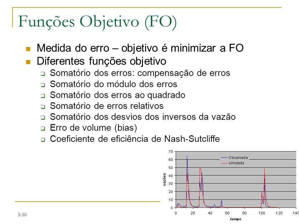 3:50 Funções Objetivo (FO) Medida do erro – objetivo é minimizar a FO Diferentes funções objetivo Somatório dos erros: compensação de erros Somatório