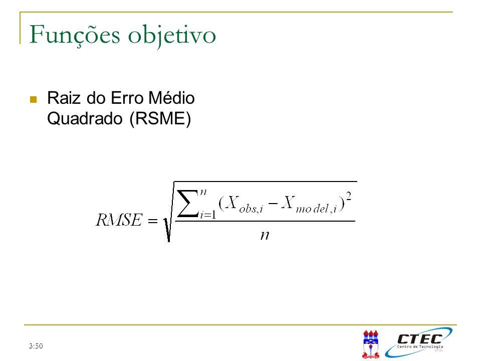 3:50 Funções objetivo Raiz do Erro Médio Quadrado (RSME)