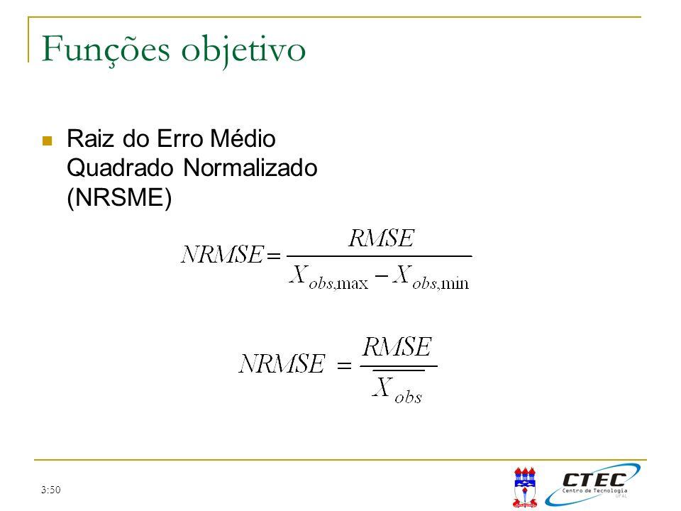 3:50 Funções objetivo Raiz do Erro Médio Quadrado Normalizado (NRSME)