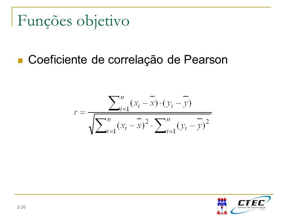3:50 Funções objetivo Coeficiente de correlação de Pearson