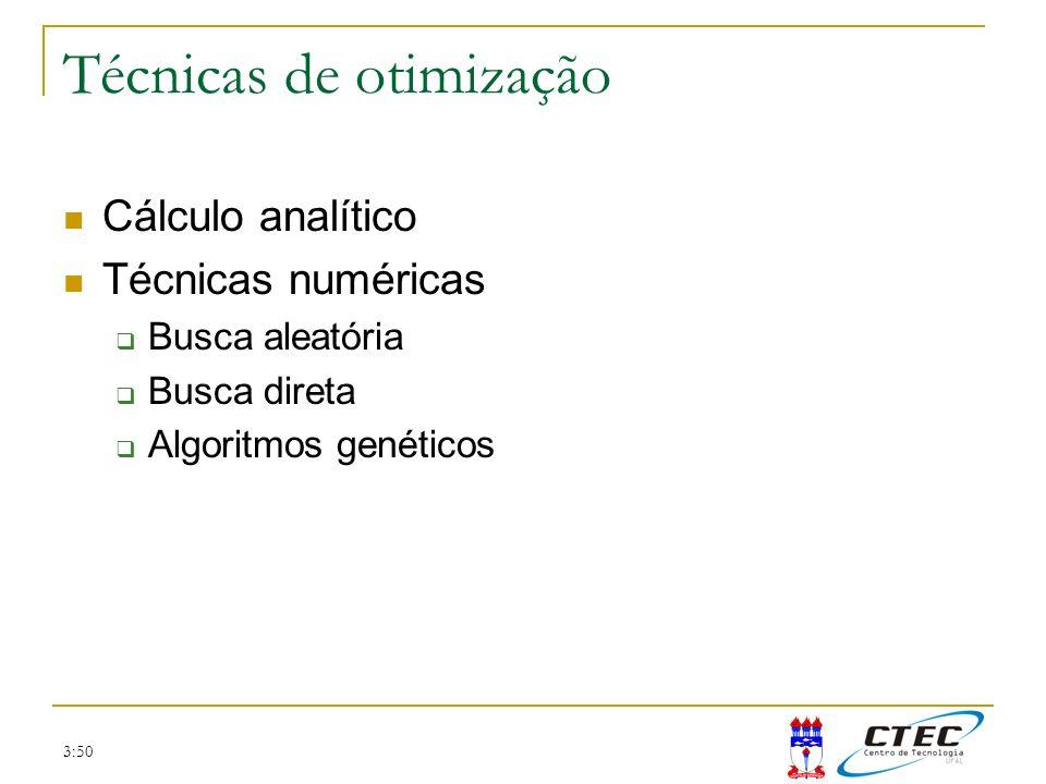 3:50 Técnicas de otimização Cálculo analítico Técnicas numéricas Busca aleatória Busca direta Algoritmos genéticos