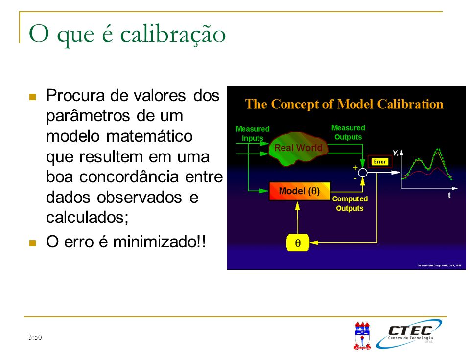 3:50 O que é calibração Procura de valores dos parâmetros de um modelo matemático que resultem em uma boa concordância entre dados observados e calcul