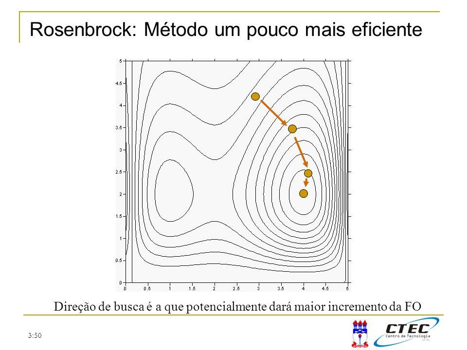 3:50 Rosenbrock: Método um pouco mais eficiente Direção de busca é a que potencialmente dará maior incremento da FO