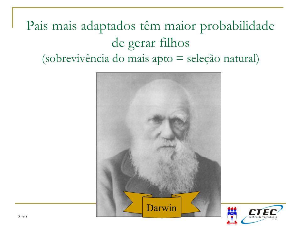 3:50 Pais mais adaptados têm maior probabilidade de gerar filhos (sobrevivência do mais apto = seleção natural) Darwin