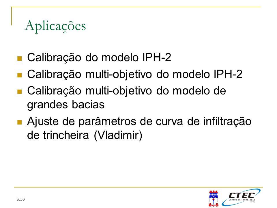 3:50 Aplicações Calibração do modelo IPH-2 Calibração multi-objetivo do modelo IPH-2 Calibração multi-objetivo do modelo de grandes bacias Ajuste de p